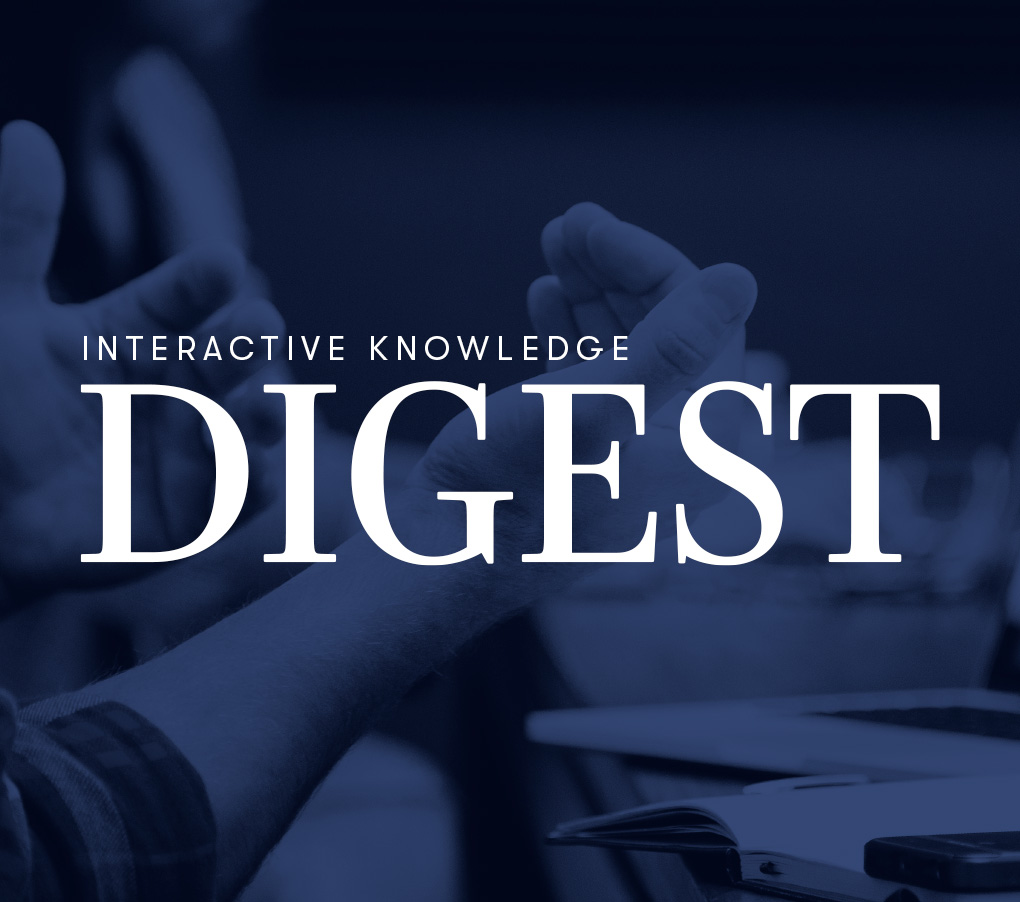 Interactive Knowledge Digest text over clapping hands