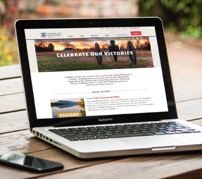 image of the American Battlefield Trust website on a laptop screen