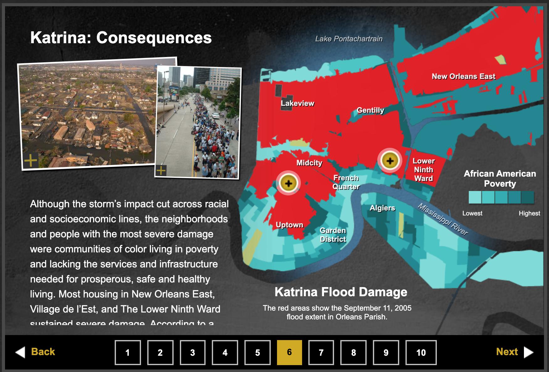 Screenshot of website interactive showing effects of Hurricane Katrina.