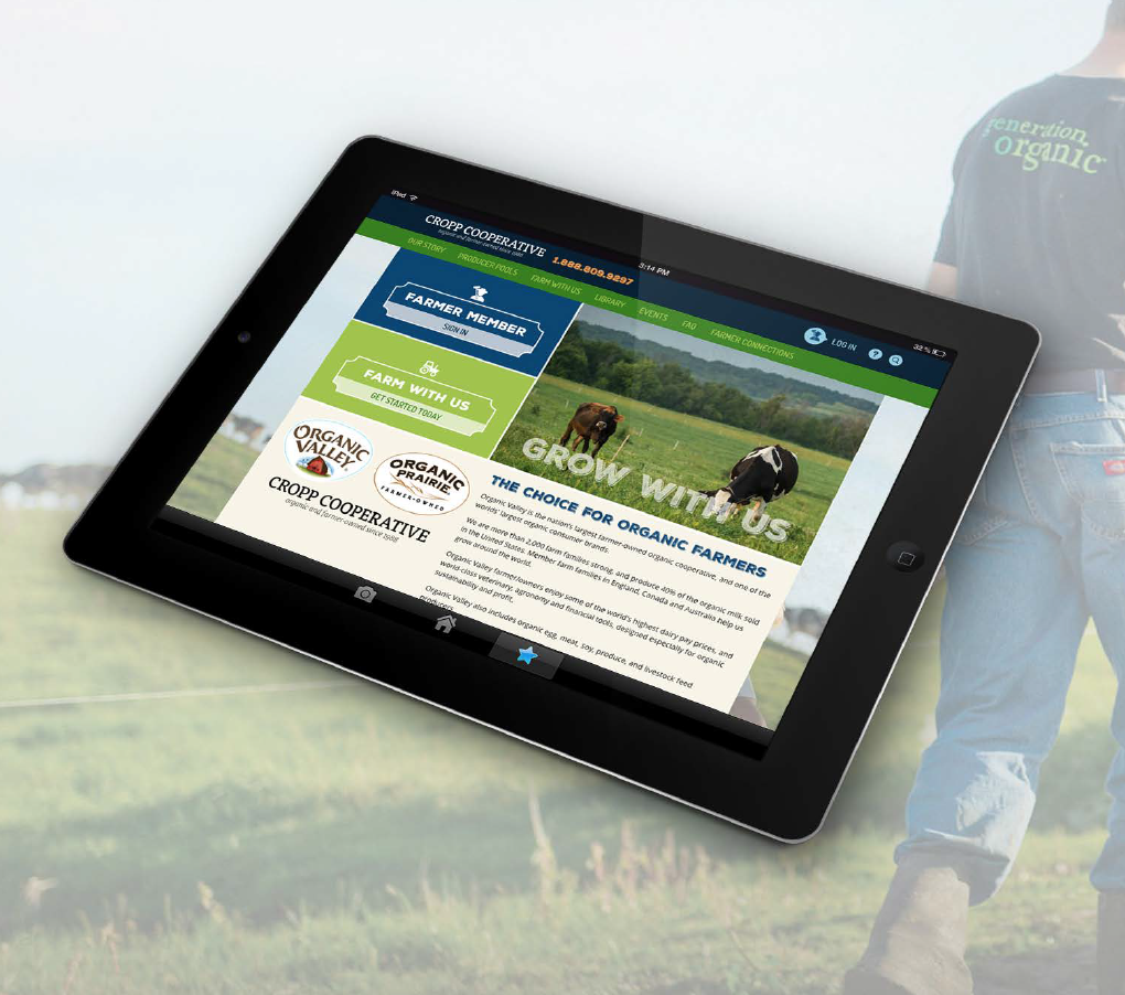 iPad showing the Farmer's Connection website