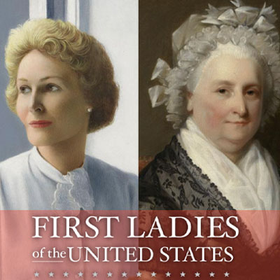 Pat Nixon and Martha Washington portraits from the exhibit First Ladies of the United States