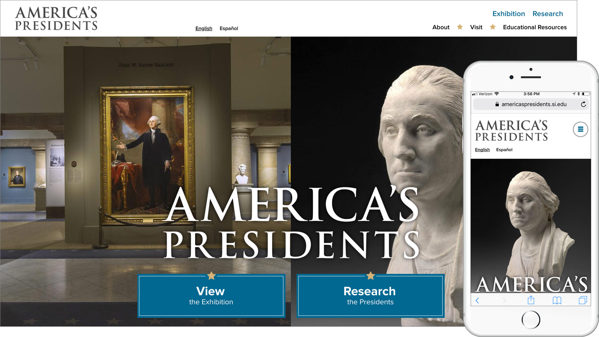 Desktop and mobile versions of the America's Presidents site