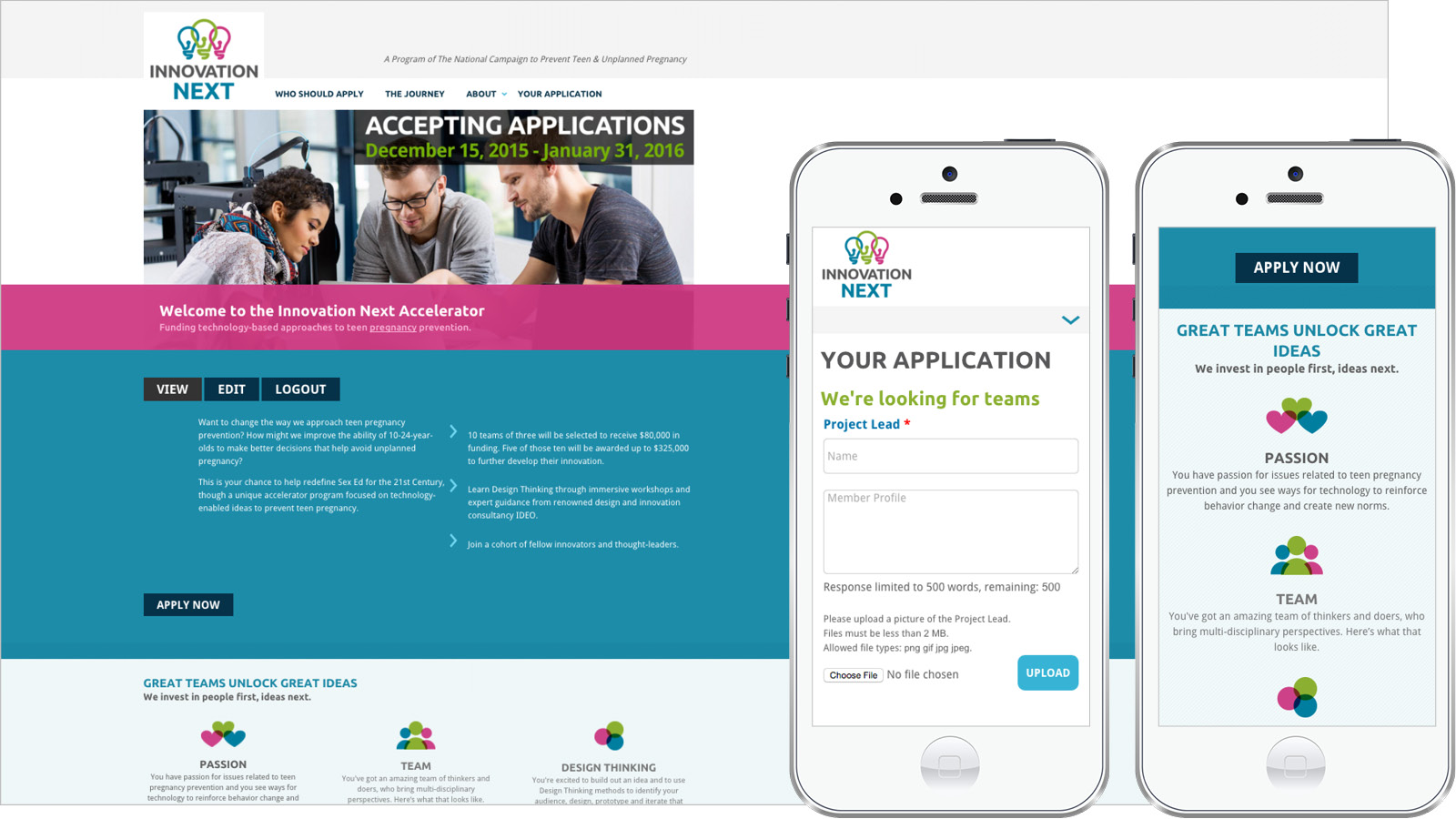 Innovation Next application design