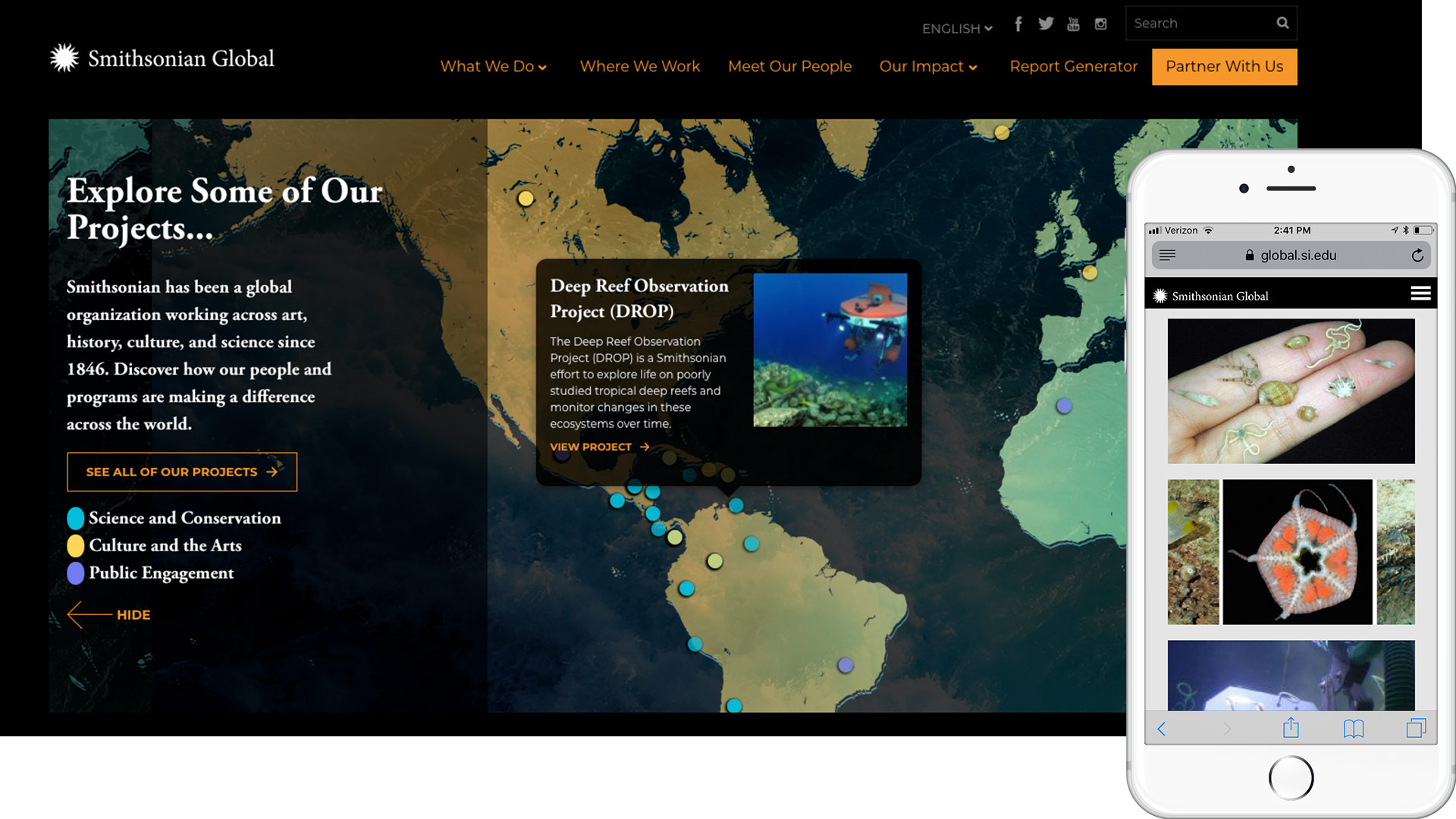 Smithsonian Global desktop and mobile view