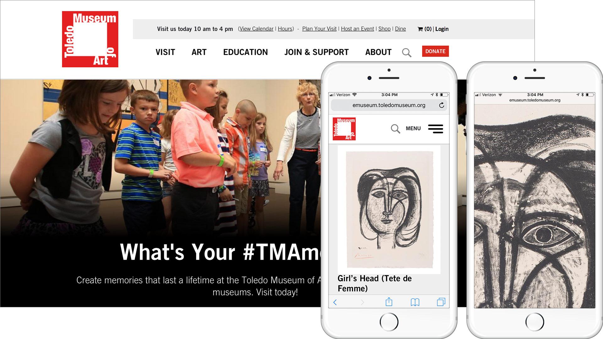 Toledo Museum of Art website desktop and mobile